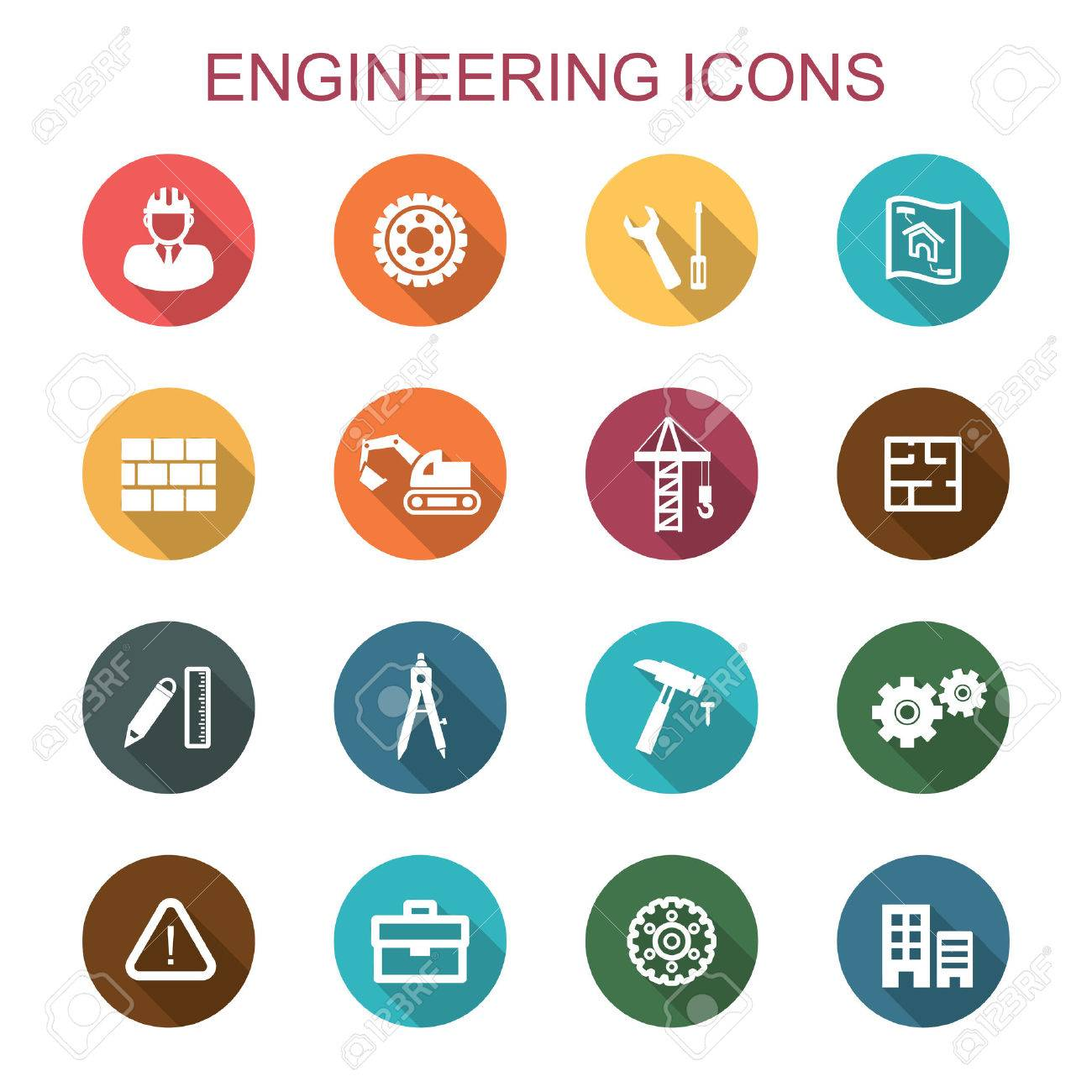 Engineering Long Shadow Icons Flat Vector Symbols Royalty Free