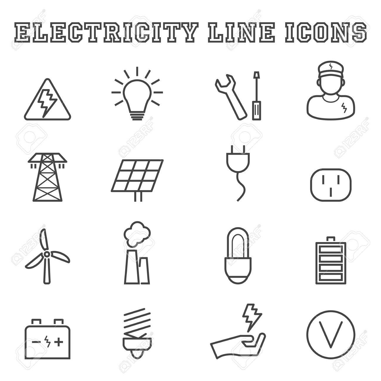 Electricity Line Icons, Mono Vector Symbols Royalty Free Cliparts ...