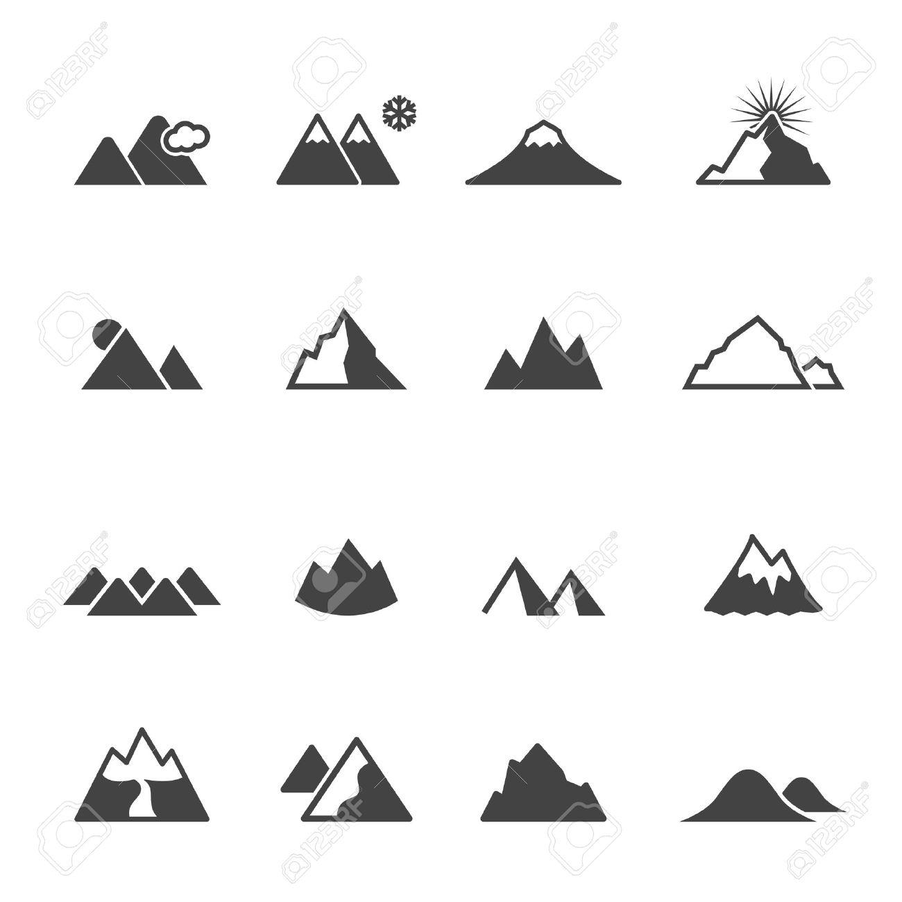 mountain icons, mono vector symbols - 40031494