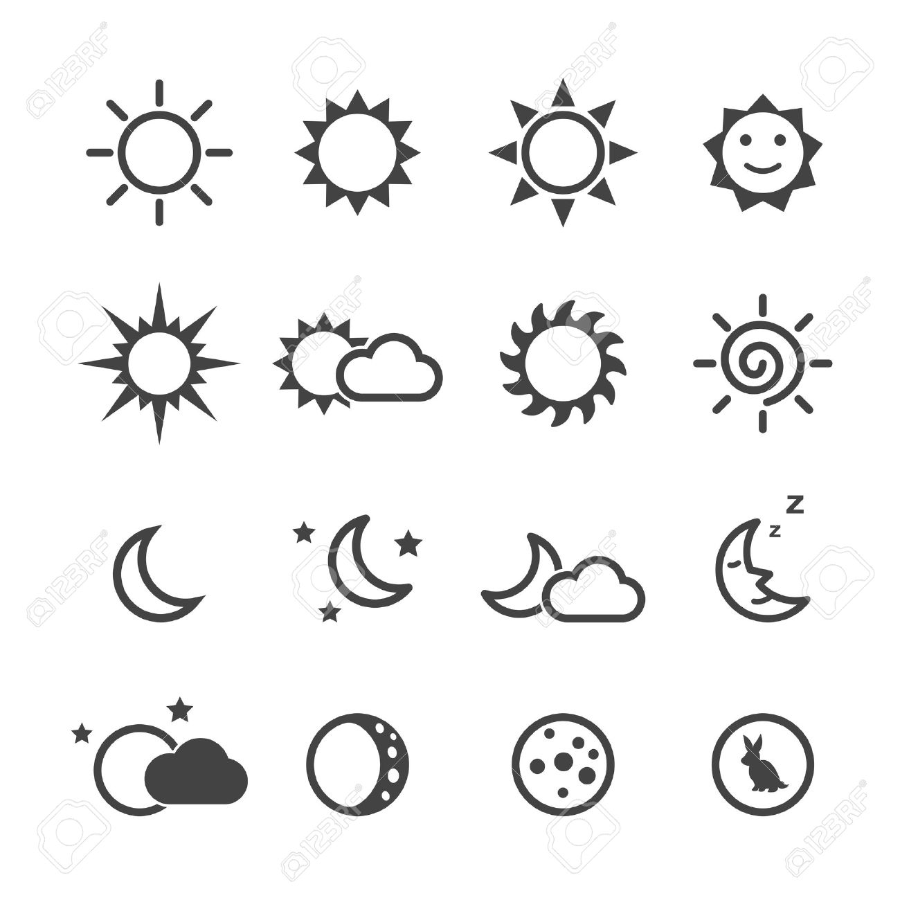 Sun and moon icons mono vector symbols royalty free cliparts sun and moon icons mono vector symbols stock vector 40903607 biocorpaavc Images