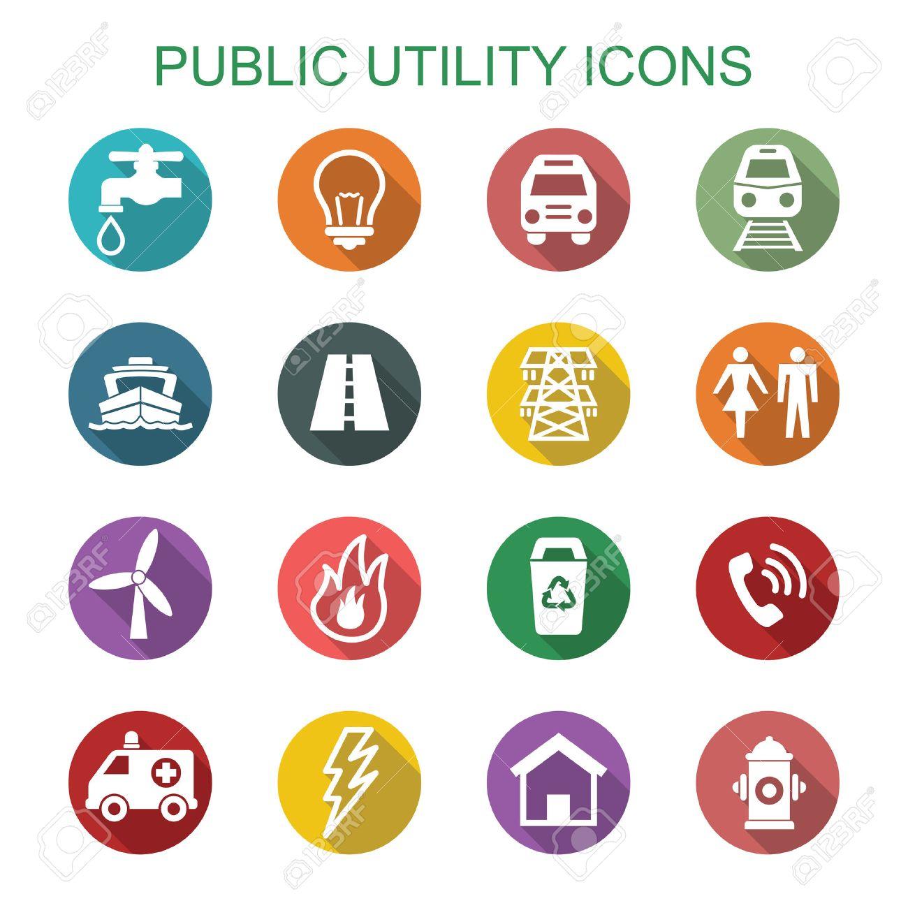 public utility long shadow icons, flat vector symbols - 41657752