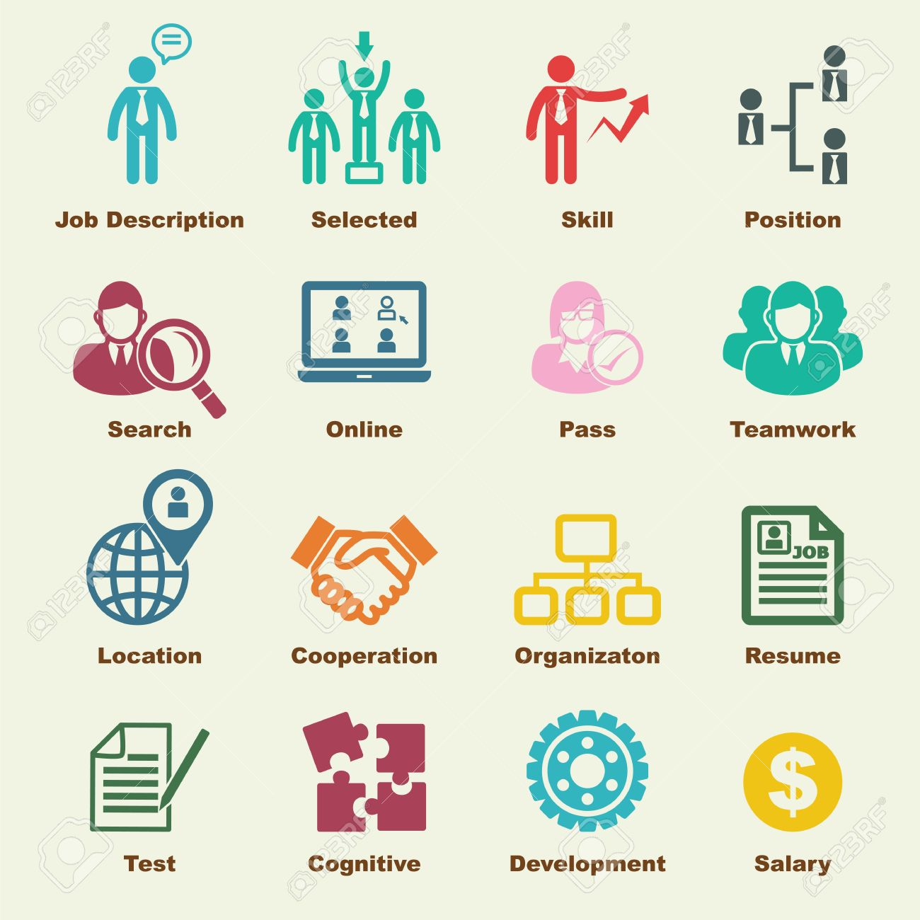 Human Resources Elements, Vector Infographic Icons Royalty Free ...