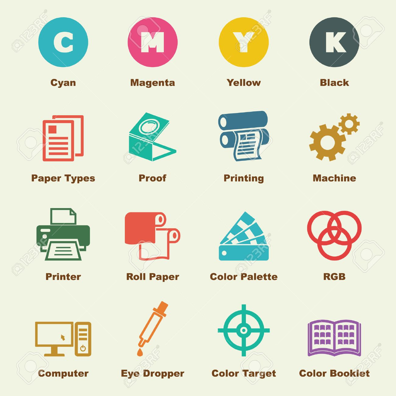 printing elements vector infographic icons royalty free cliparts