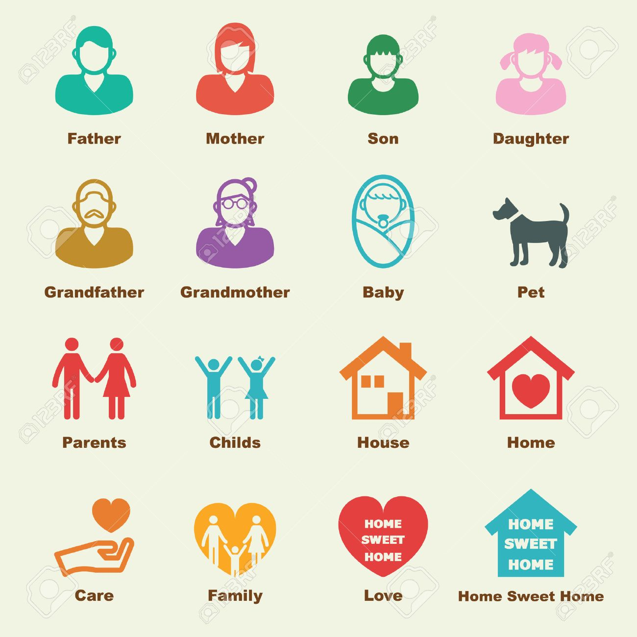 Family Elements, Vector Infographic Icons Royalty Free Cliparts ...