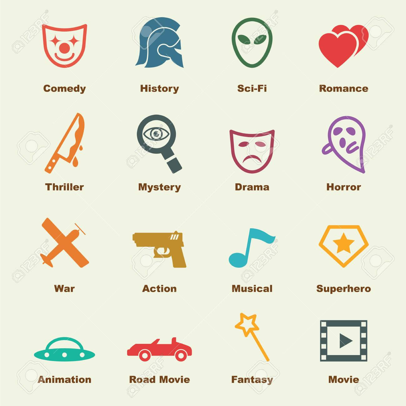 Movie Genre Elements Vector Infographic Icons Stock