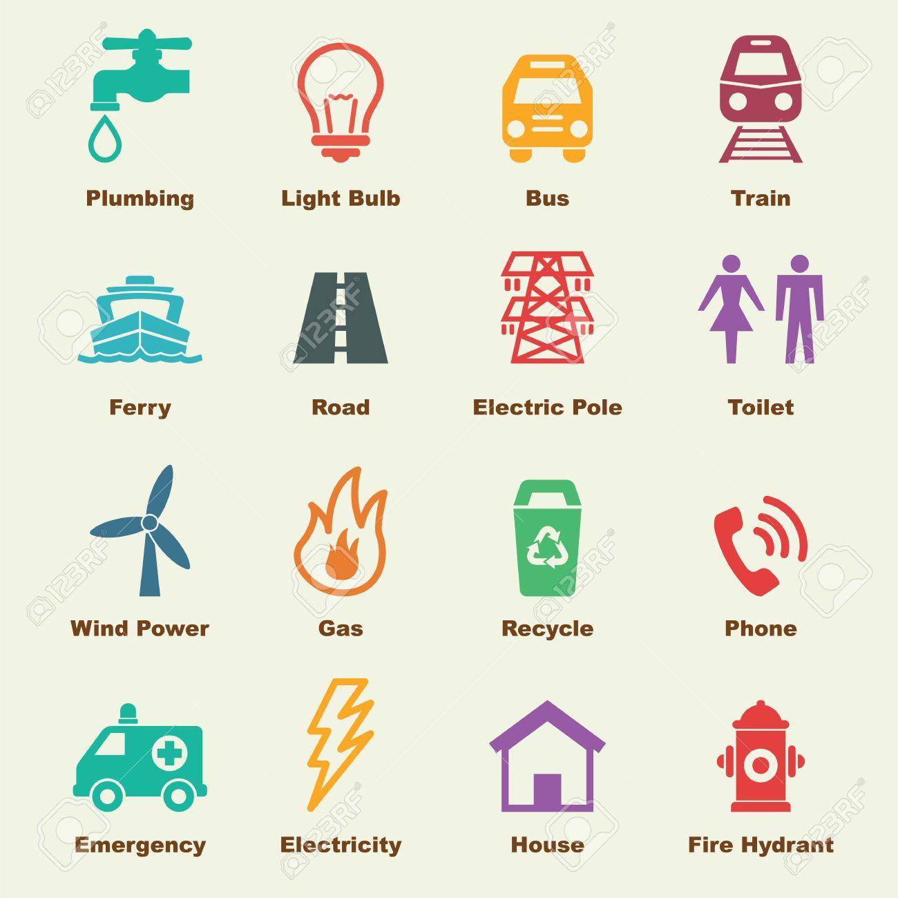 elementos de los servicios públicos, los iconos del vector infográficas  ilustraciones vectoriales, clip art vectorizado libre de derechos. image  46618628.  123rf
