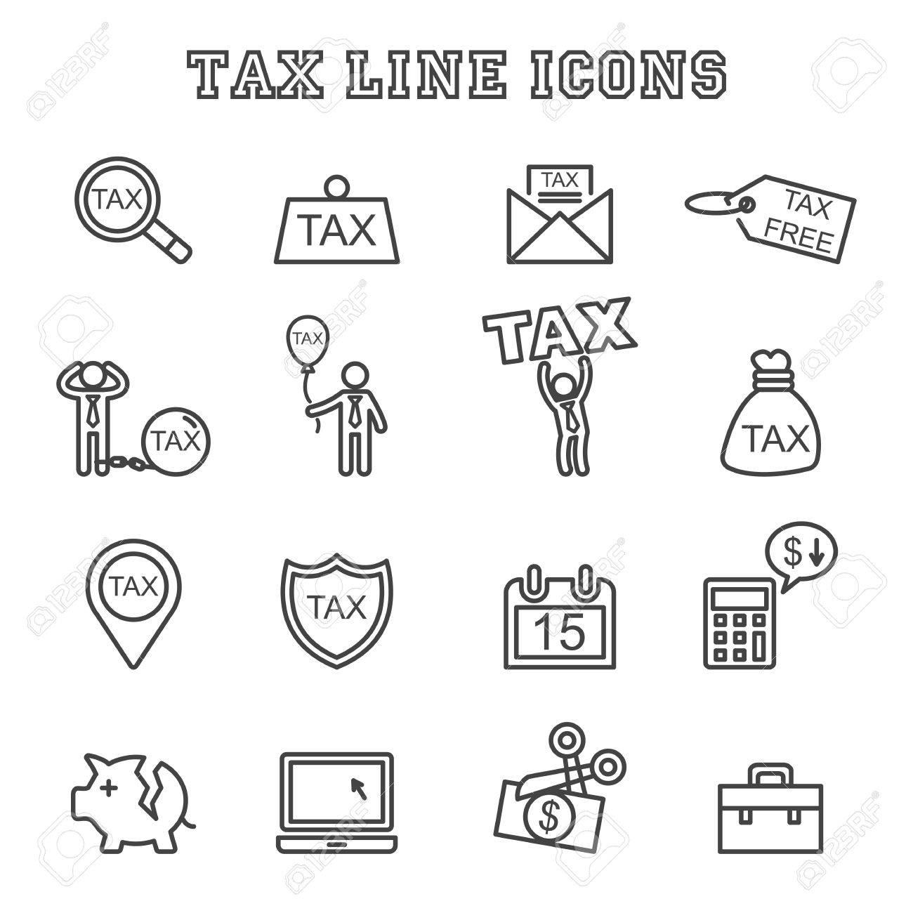 tax line icons, mono vector symbols - 51403639