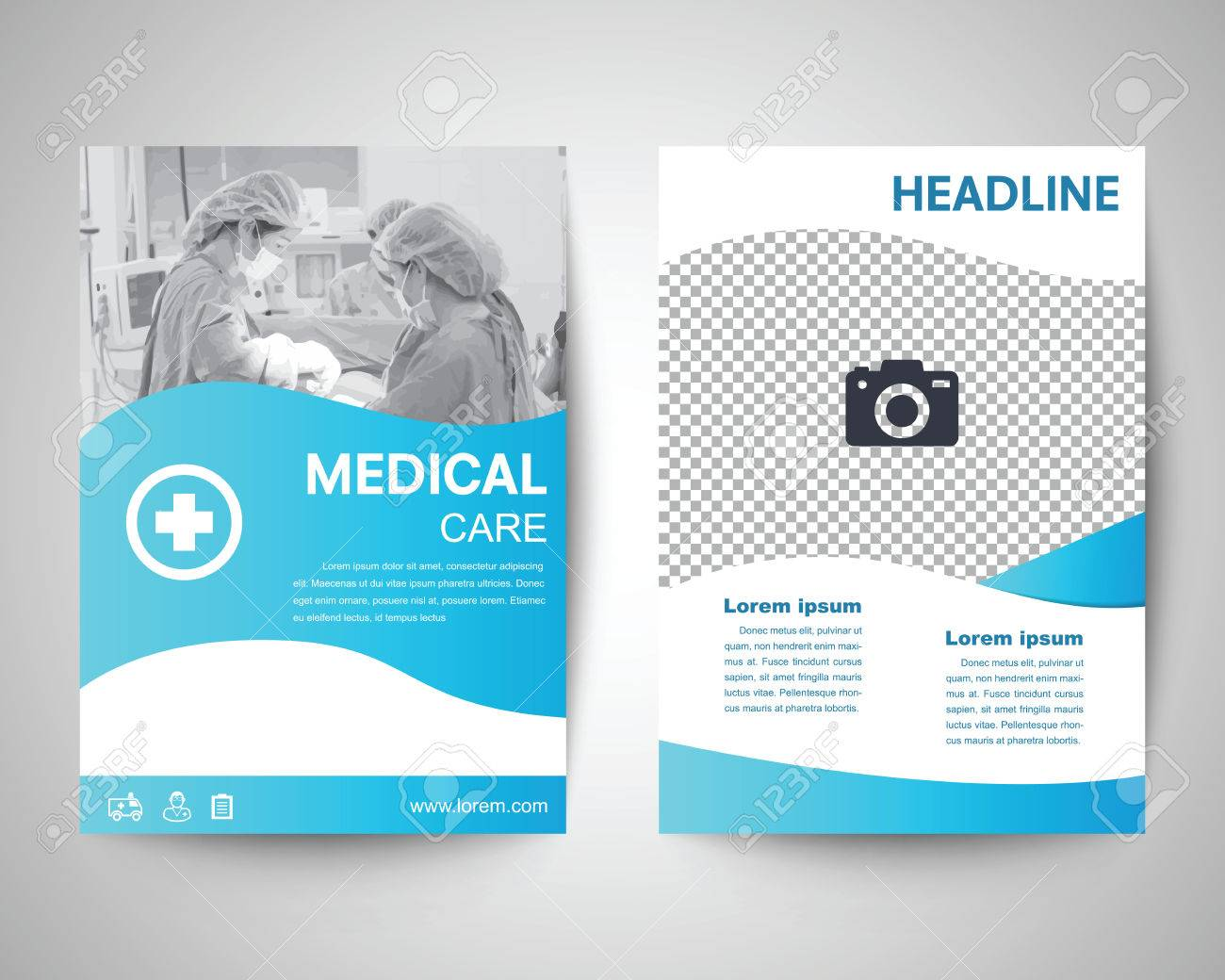 blue medical flyer template brochure background leaflet with