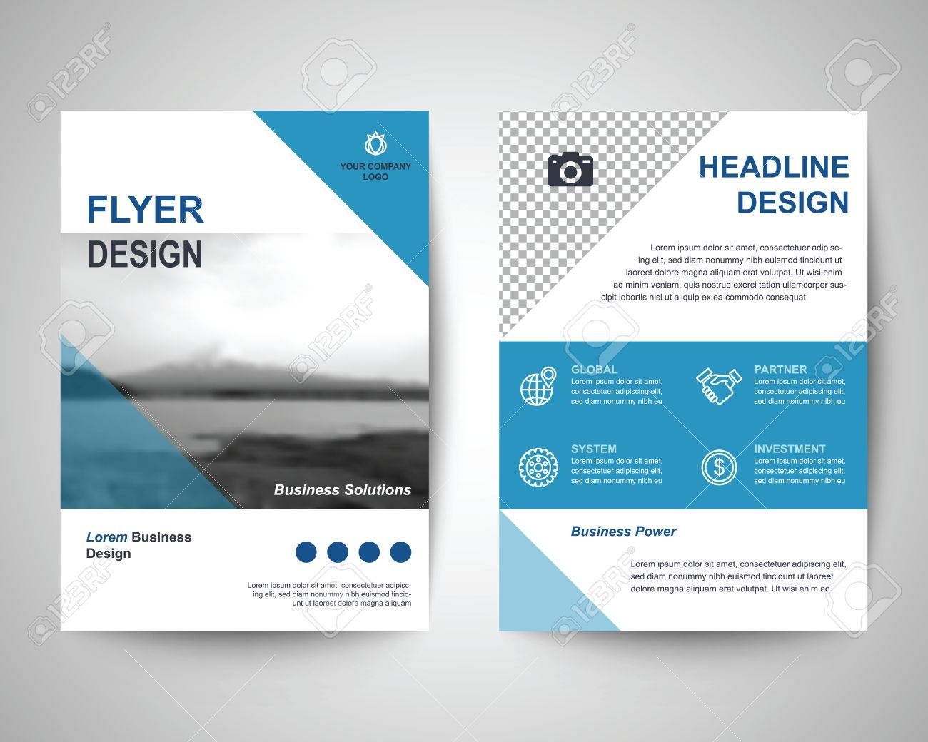 Blue Abstract Flyer Layout Template Brochure Background Leaflet