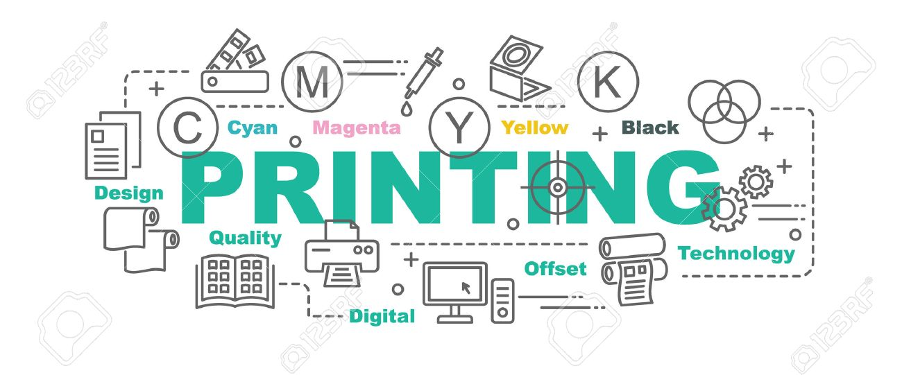 printing vector banner design concept, flat style with thin line art printing icons on white background - 67672569