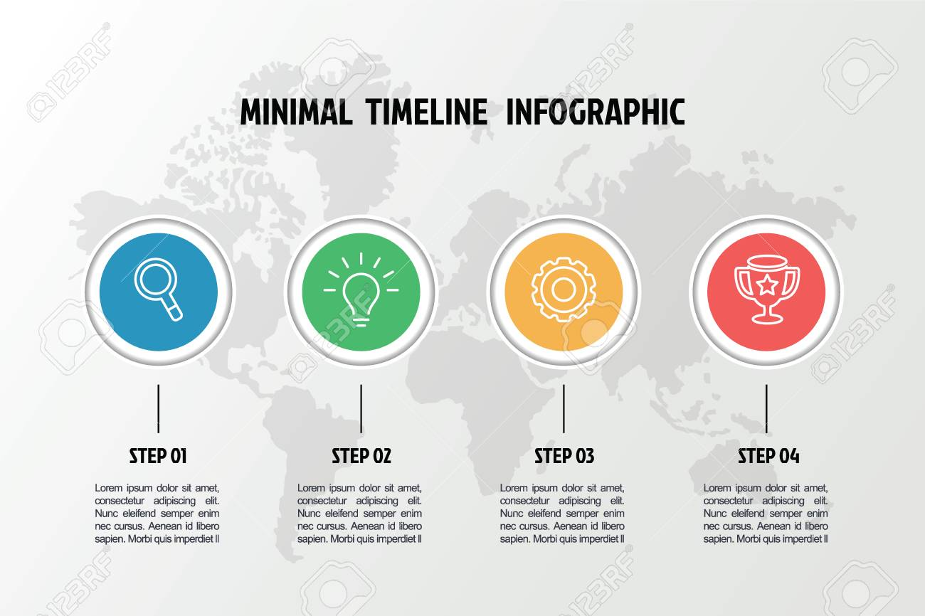 Business Minimal 3d Infographic Template, 4 Steps Timeline ...
