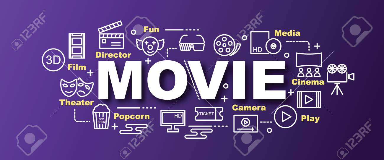 Movie Vector Trendy Banner Design Concept Modern Style With Thin Line Art Icons On Gradient