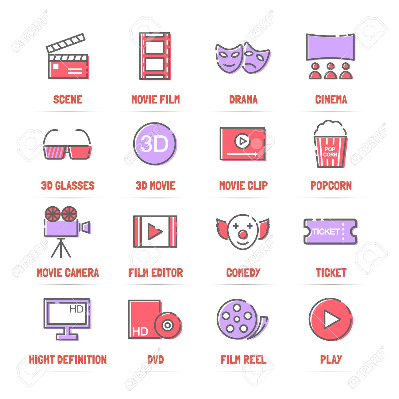 movie vector line icons with flat colors minimal pictogram design