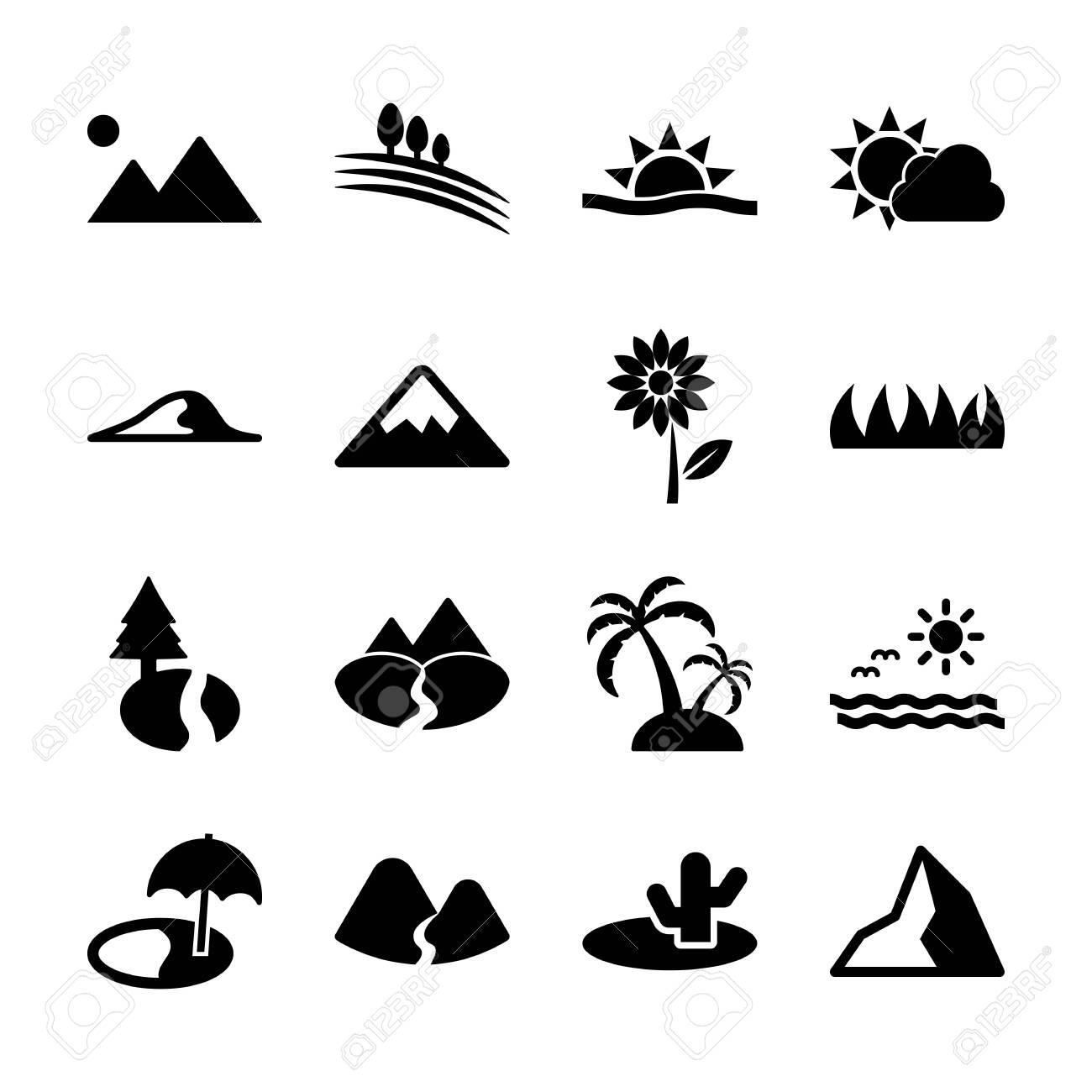 landscape solid icons vector design - 130042618