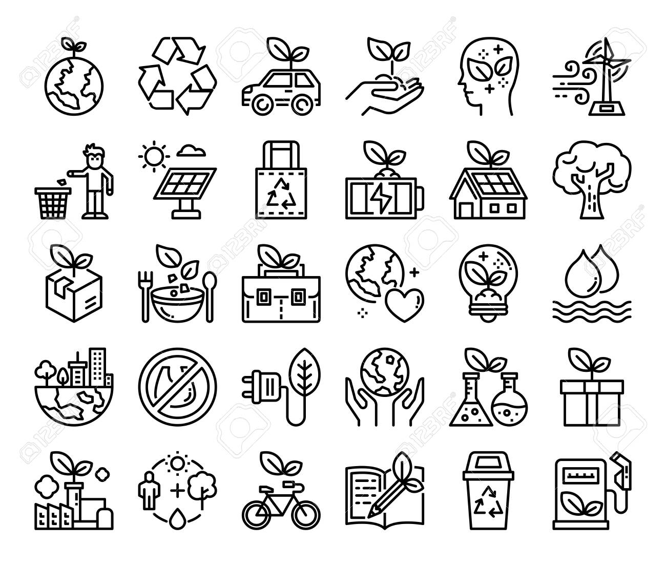 ecology outline vector icons save the earth concept - 146589513
