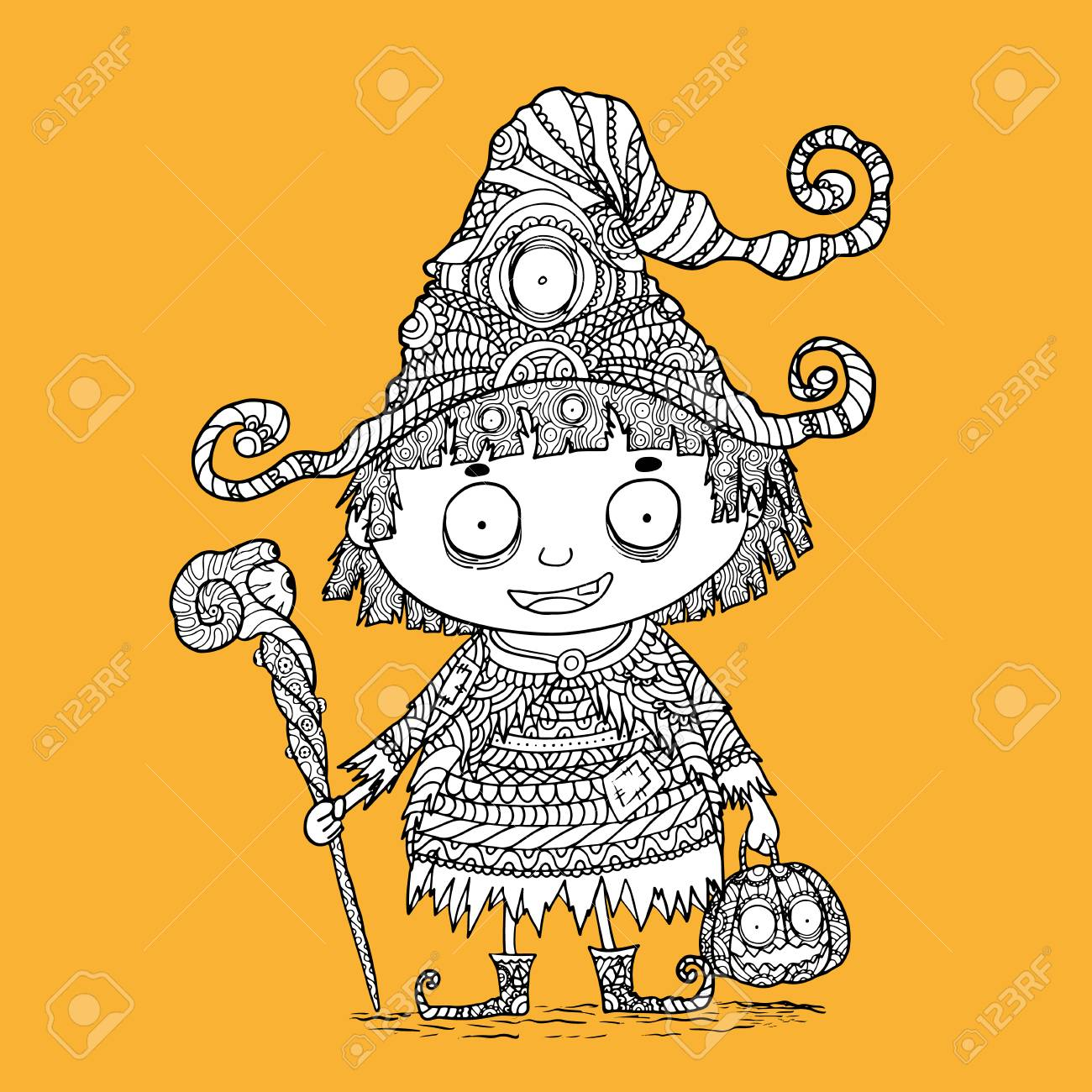 Little Witch Zentangle By Hand Drawing Cute Witch Vector In Halloween Royalty Free Cliparts Vectors And Stock Illustration Image 69341299