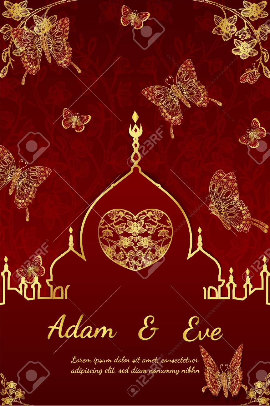 Wedding Invitation Card Layout With Golden Butterfly Design On