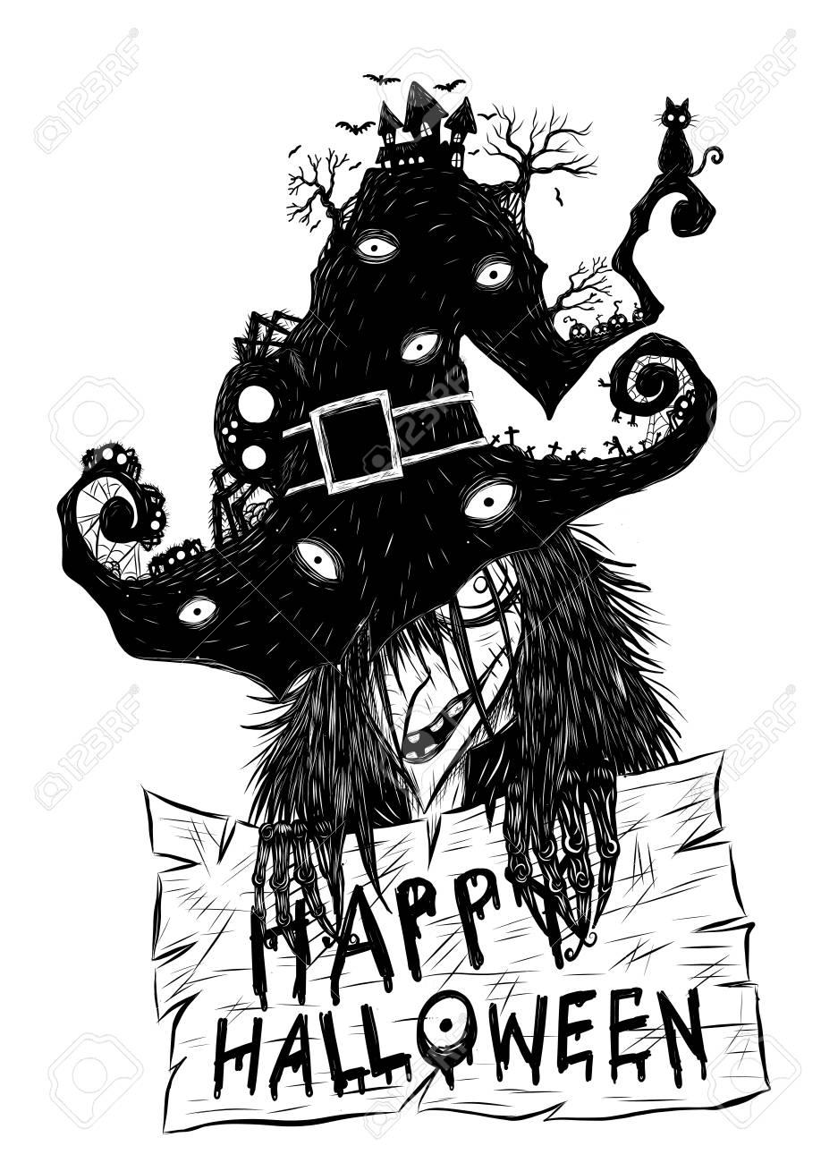 Halloween Hintergrund Eigenhändig Zeichnen Alte Hexe Auf Dunklem