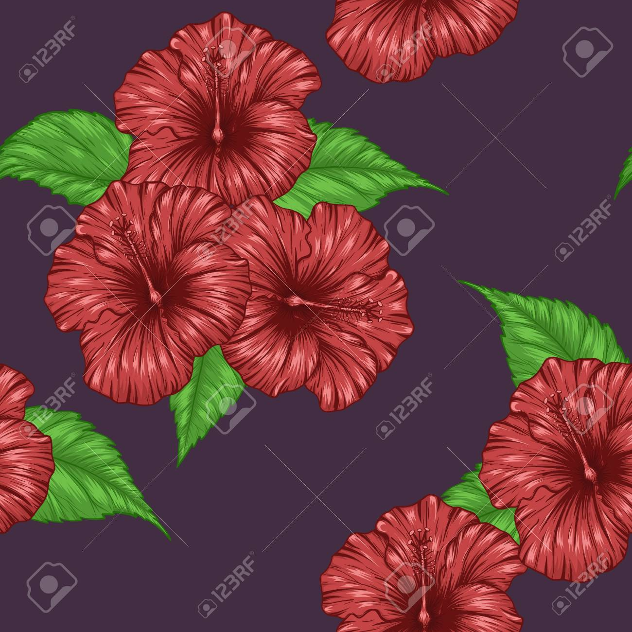 Red hibiscus flower art highly detailed in line art style on red hibiscus flower art highly detailed in line art style on vintage paper stock vector izmirmasajfo