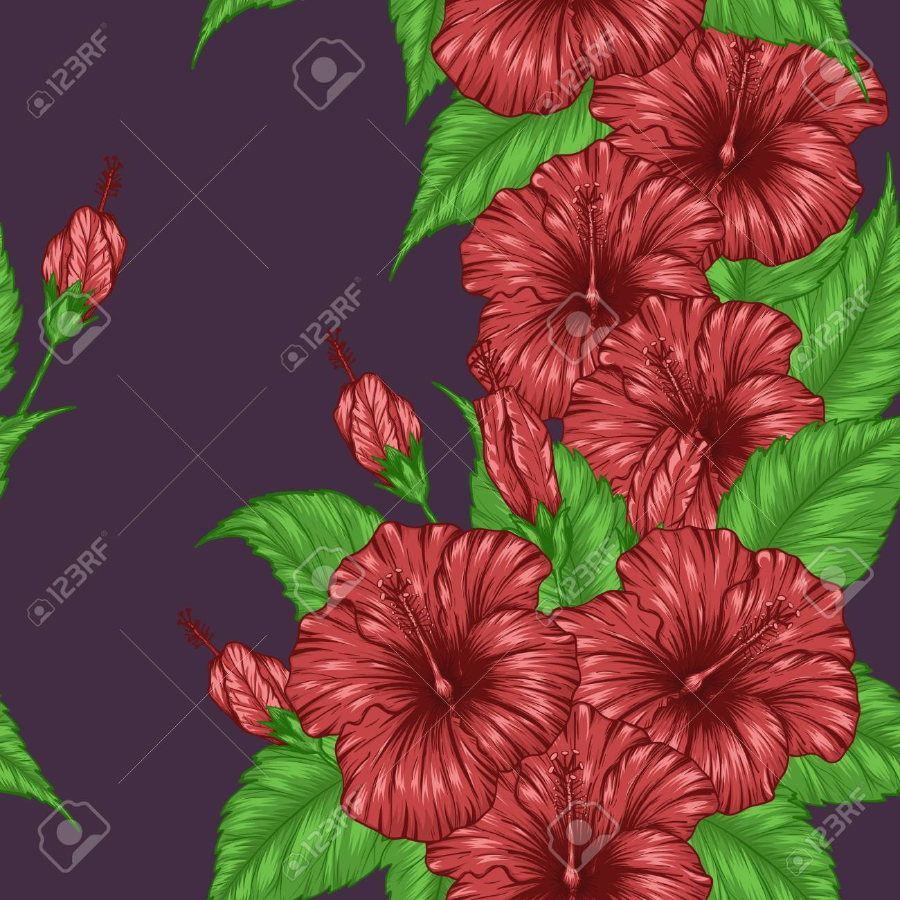 Hibiscus Flower Pattern By Hand Drawing Tattoo Art Highly Detailed