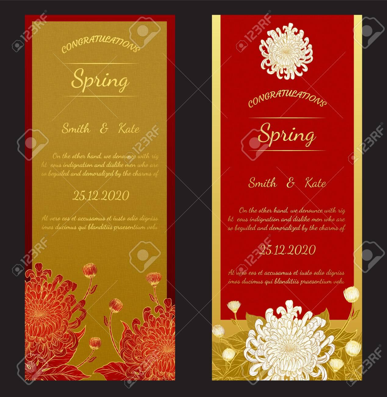 Chrysanthemum Vintage Card On Red Background.Chrysanthemum Flower ...