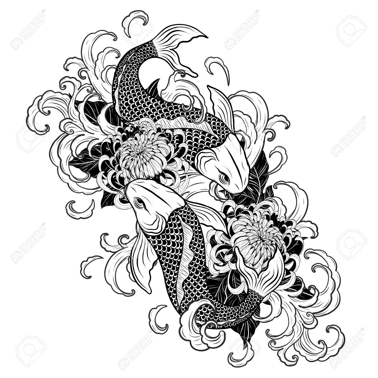 Koi fish and chrysanthemum tattoo by hand drawing tattoo art highly detailed in line art