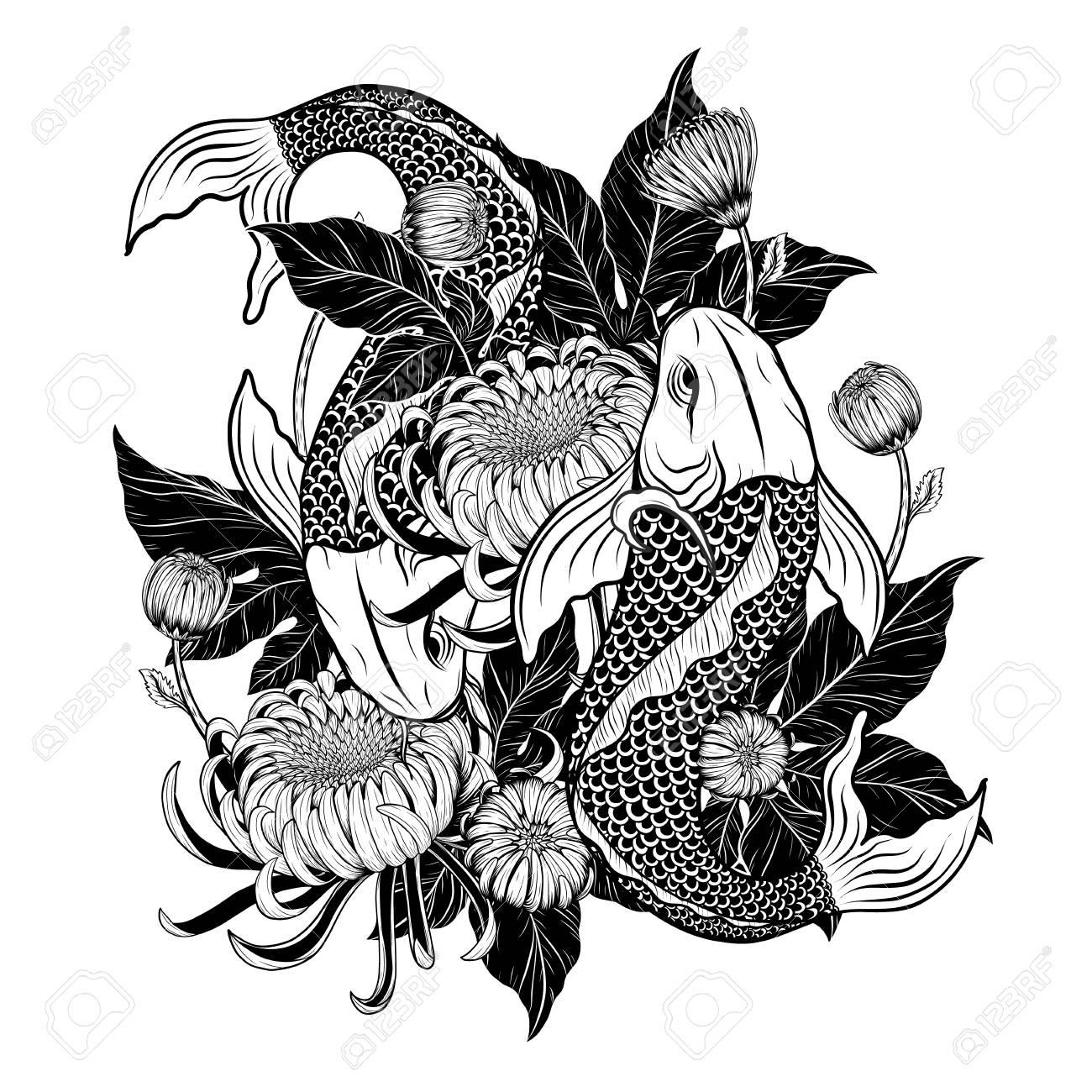 c2966c13b Koi fish and chrysanthemum tattoo by hand drawing.Tattoo art highly  detailed in line art