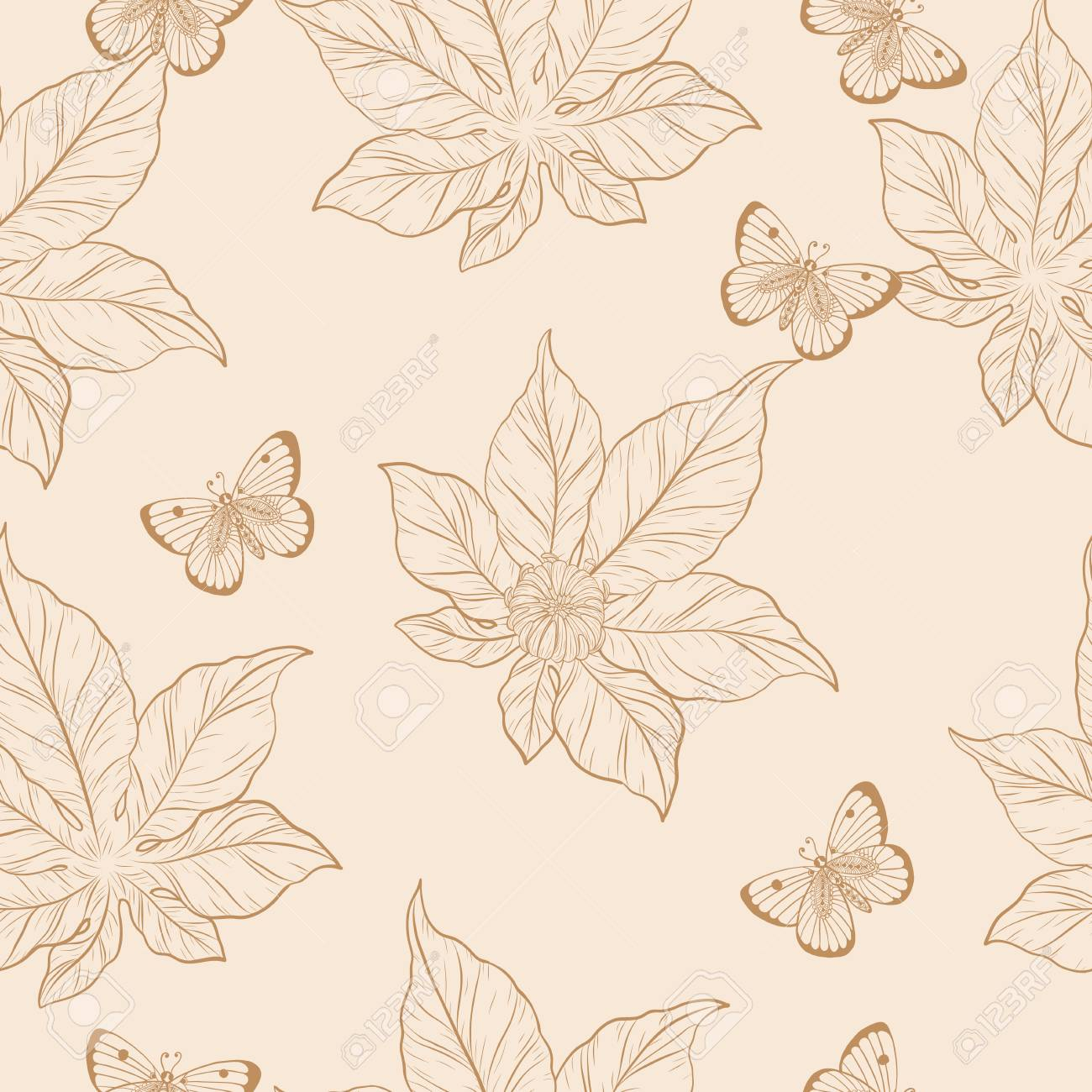Chrysanthemum Pattern On Vintage Background Flower Wallpaper