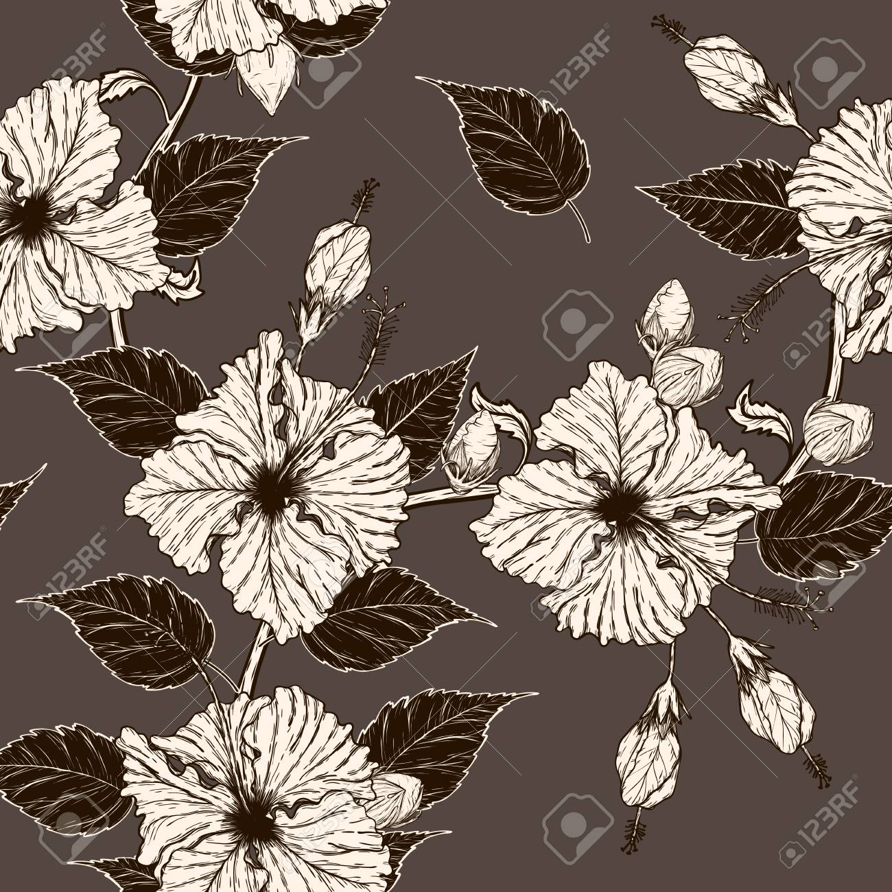 Hibiscus Flower Pattern By Hand Drawing Art Highly Detailed