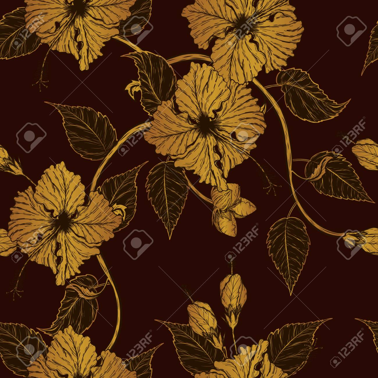 Hibiscus Flower Pattern By Hand Drawing Tattoo Art Highly Detailed Royalty Free Cliparts Vectors And Stock Illustration Image 96658979