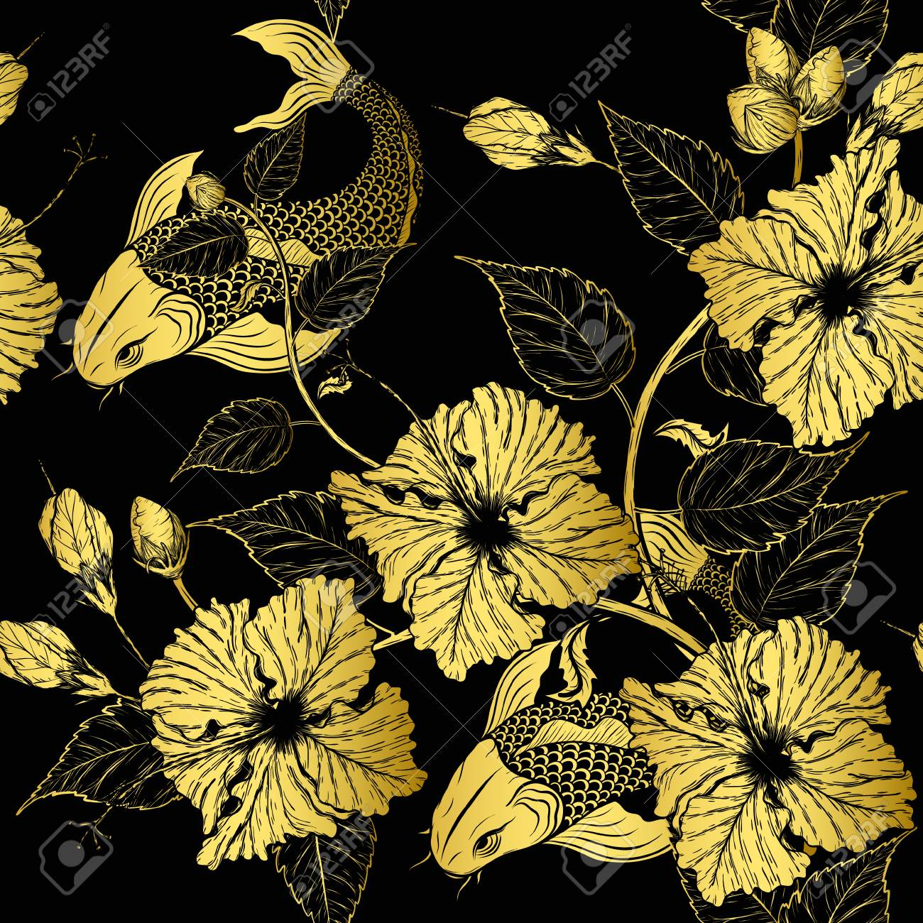 Hibiscus Flower Pattern By Hand Drawing Tattoo Art Highly Detailed Royalty Free Cliparts Vectors And Stock Illustration Image 96658988