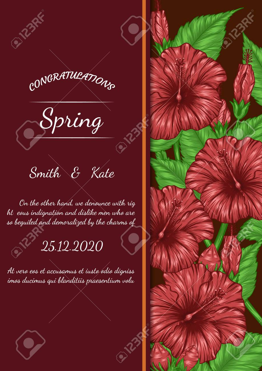 Hibiscus Flower Vector Card By Hand Drawingautiful Flower