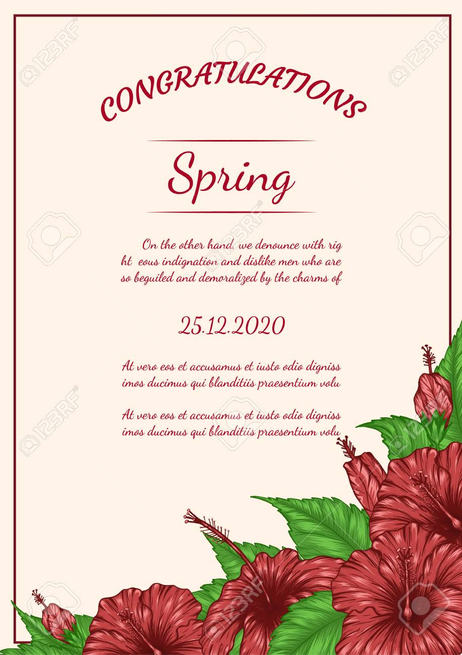 Hibiscus Flower Vector Card By Hand Drawing Beautiful Flower Royalty Free Cliparts Vectors And Stock Illustration Image 97072163