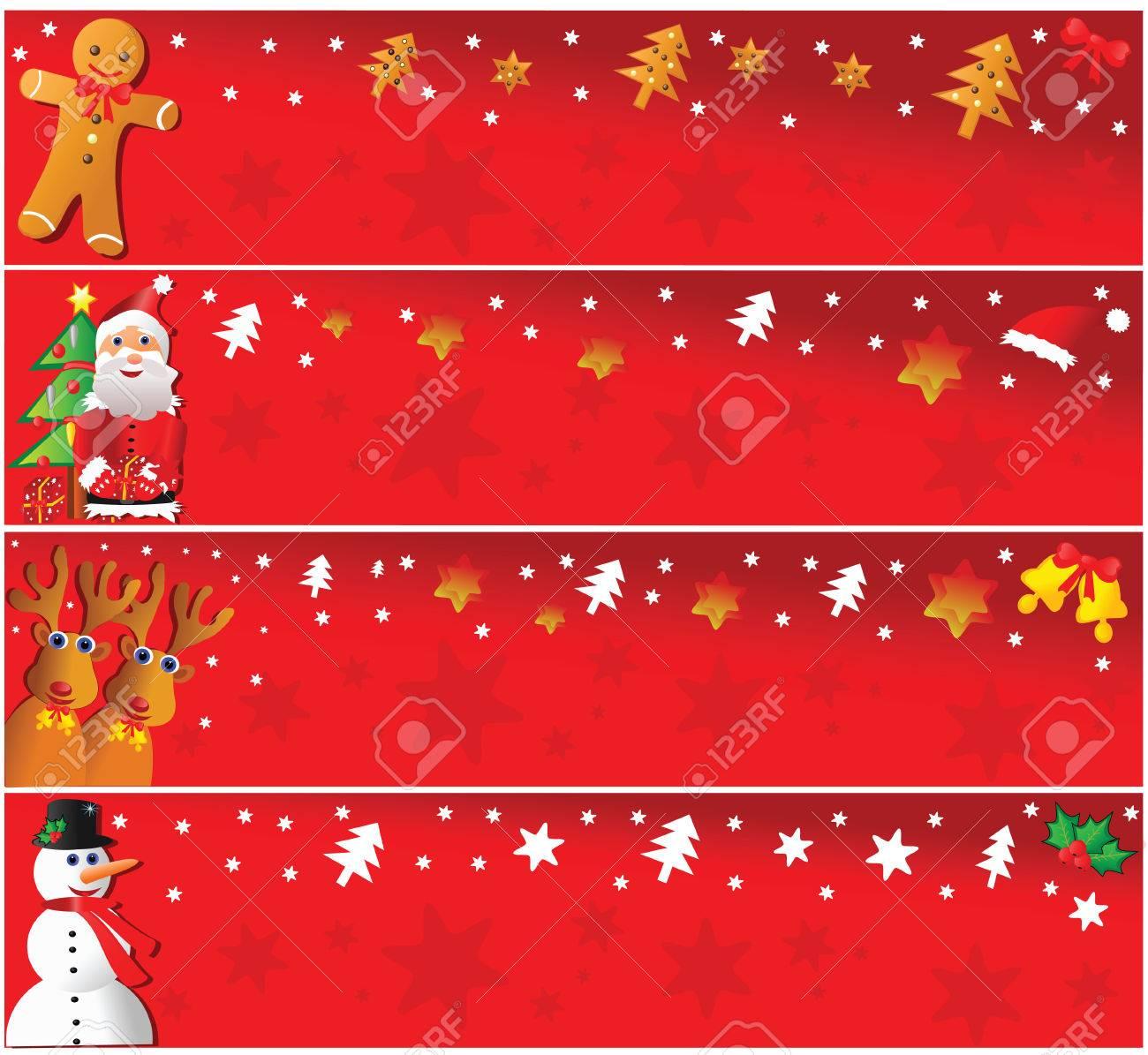 Four christmas horizontal banners. Vector illustration. Stock Vector - 6030369