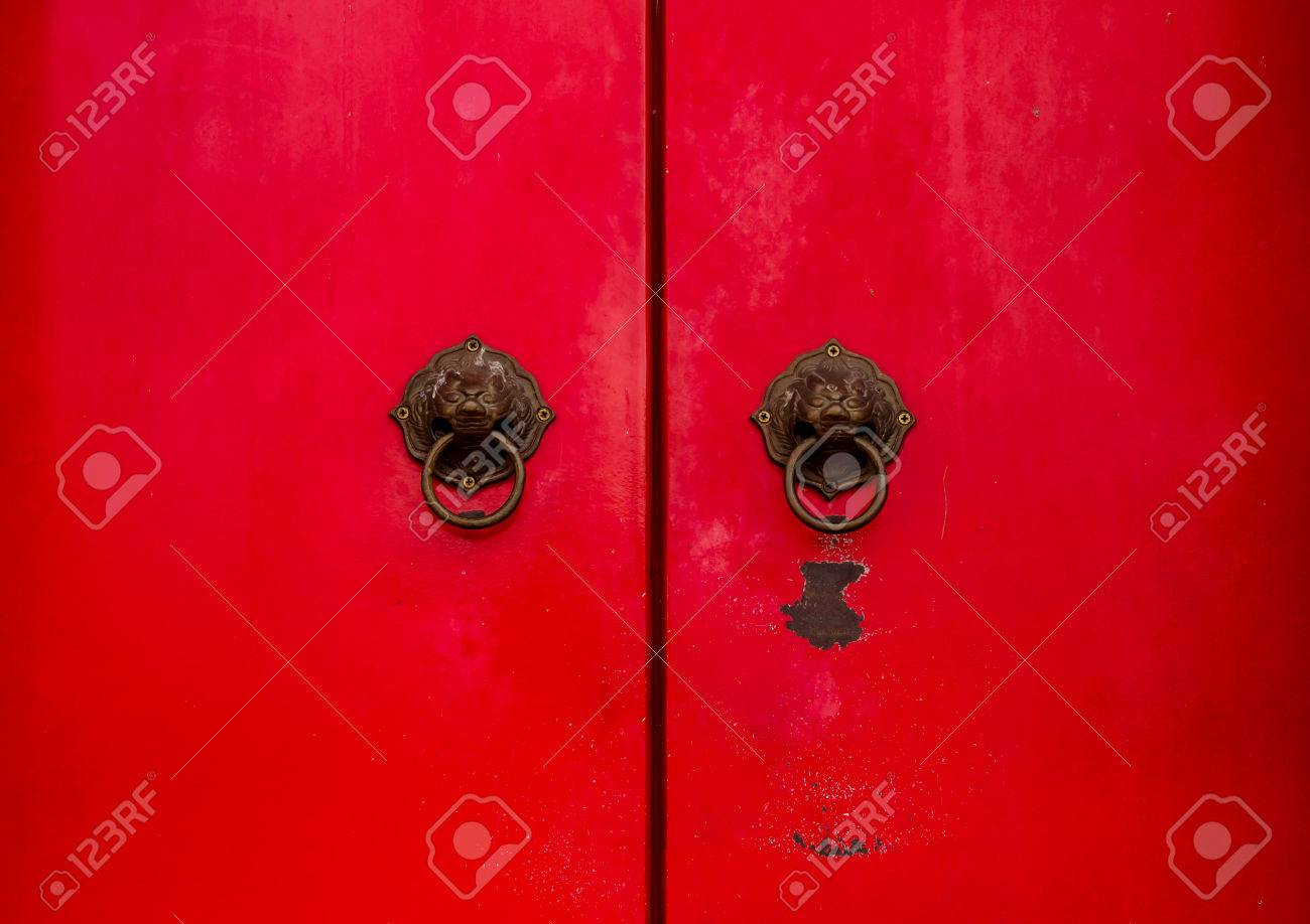 Ancient Chinese Red Door Knocker Stock Photo Picture And Royalty
