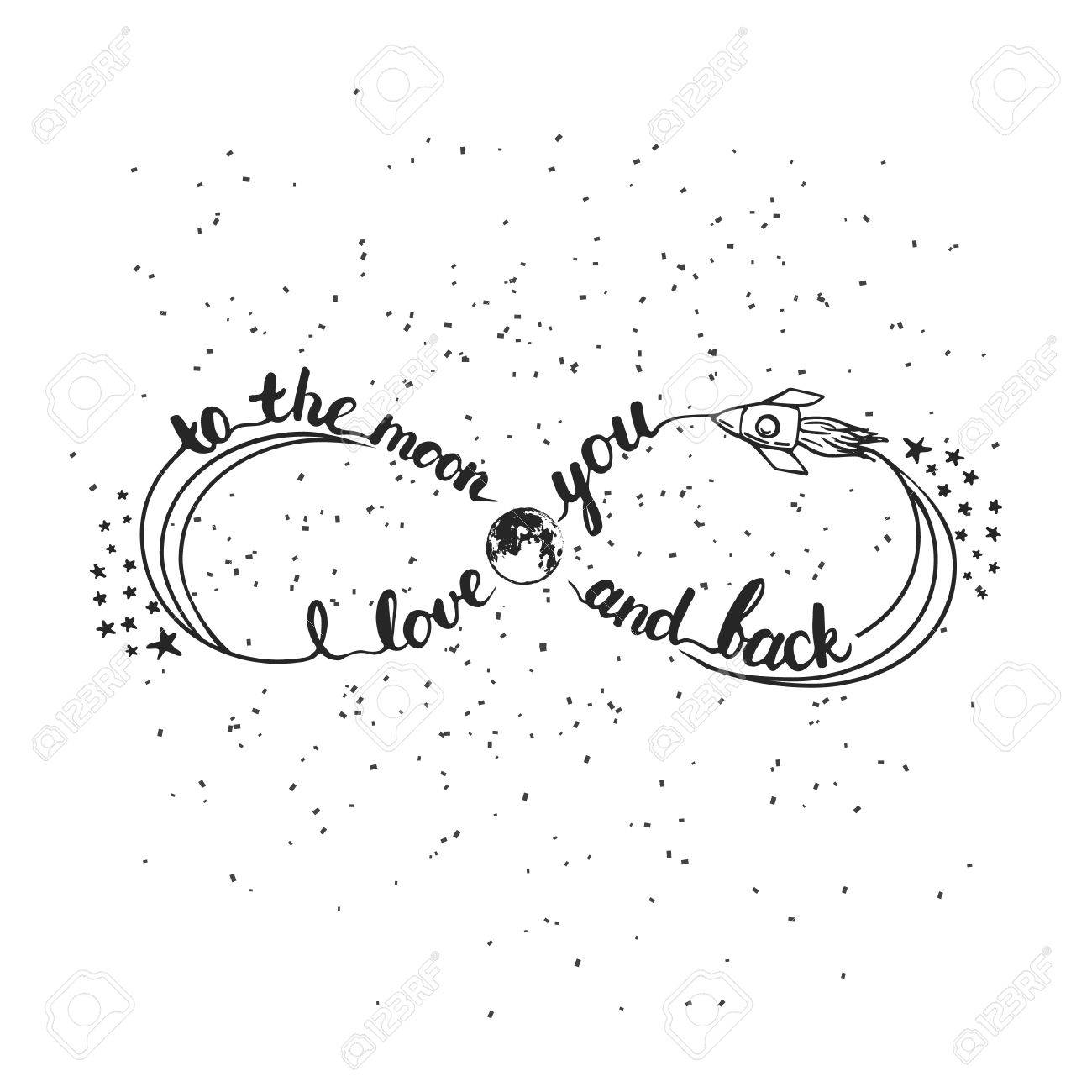 Hand drawn typography lettering phrase I love you to the moon