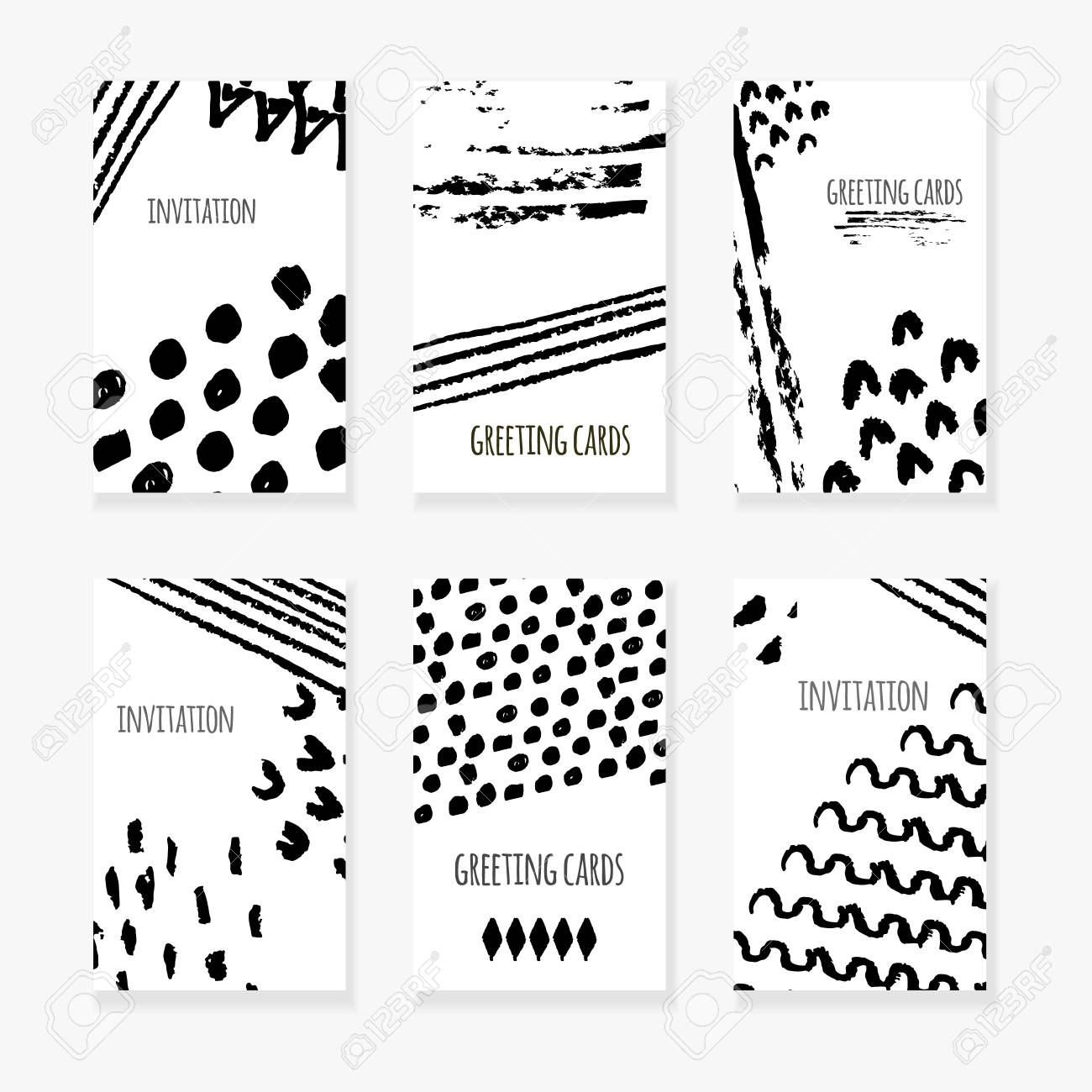 Set Of Black And White Abstract Hand Drawn Sketch Background
