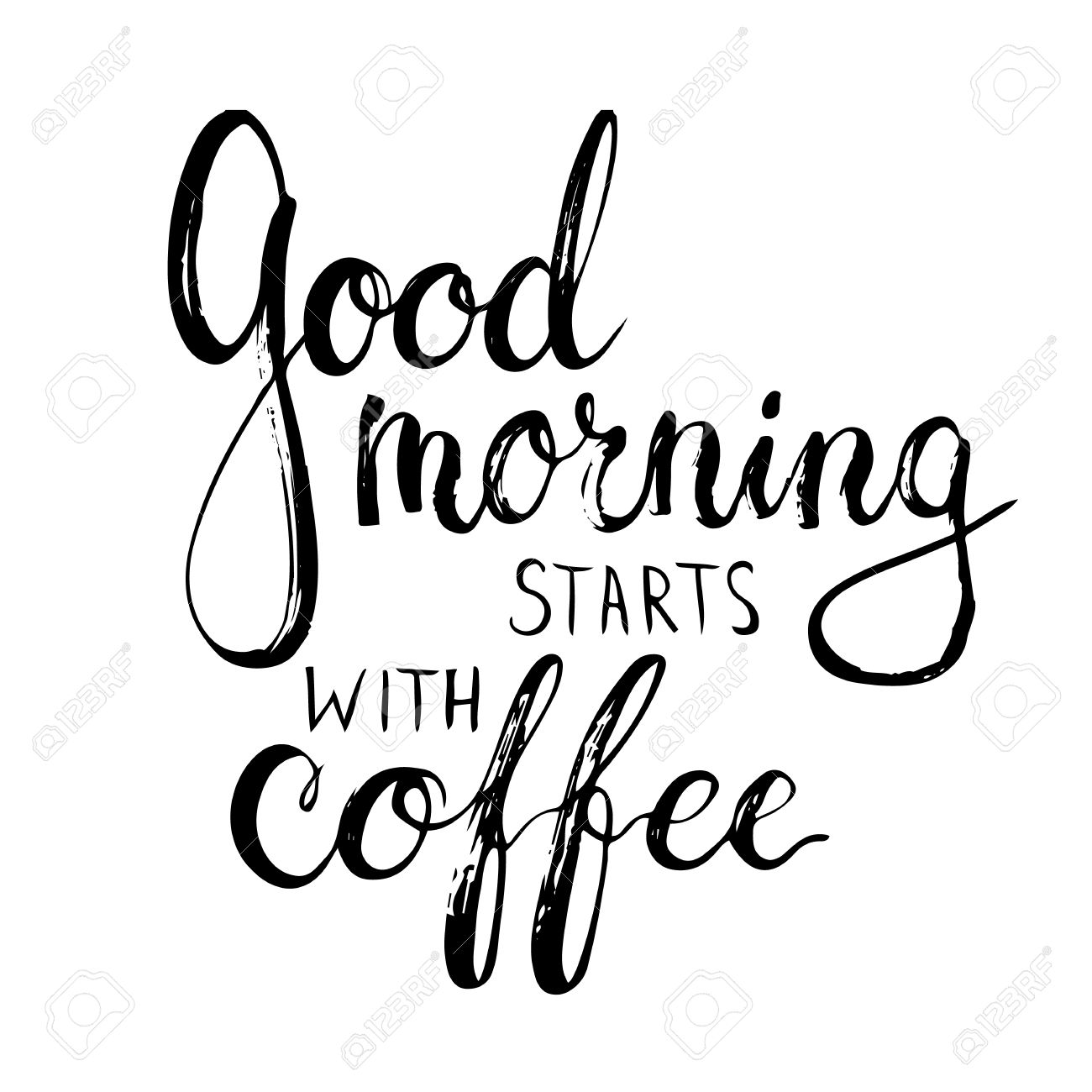 Hand drawn typography lettering phrase Good Morning Starts with Coffee. Modern calligraphy for typography greeting and invitation card or t-shirt print - 55705313