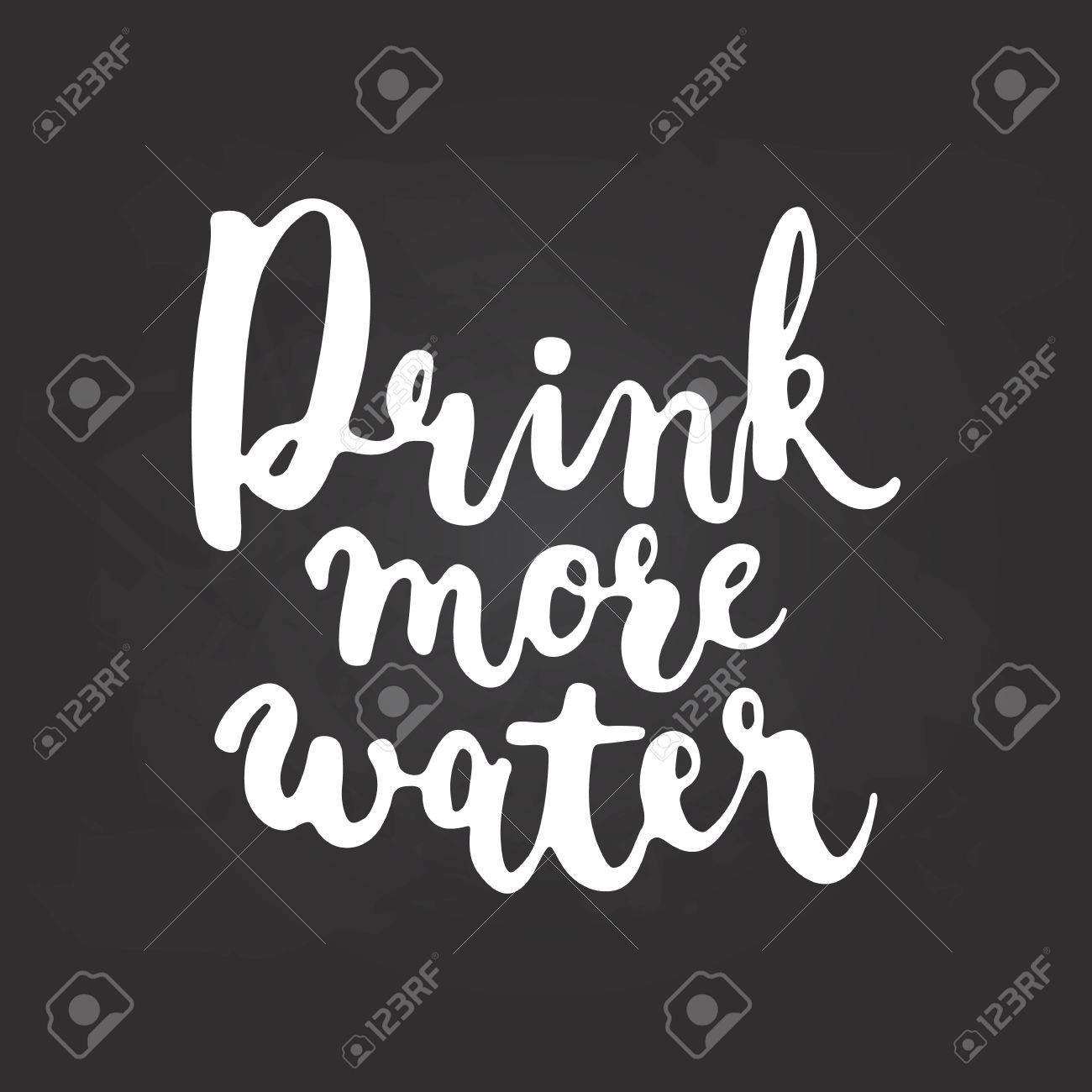Hand Drawn Chalk Typography Lettering Phrase Drink More Water Isolated On The Black Chalkboard Background