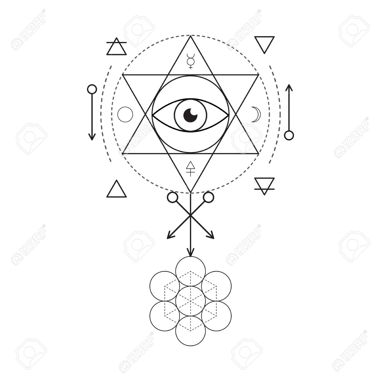 Symbol of alchemy and sacred geometry linear character symbol of alchemy and sacred geometry linear character illustration for lines tattoo on the white buycottarizona