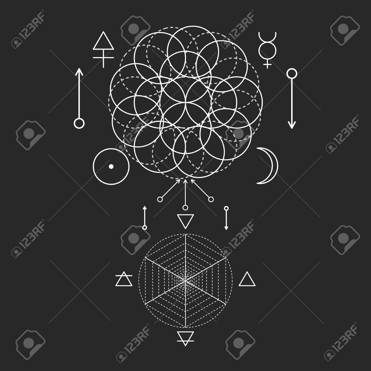 Symbol of alchemy and sacred geometry linear character symbol of alchemy and sacred geometry linear character illustration for lines tattoo on the black buycottarizona