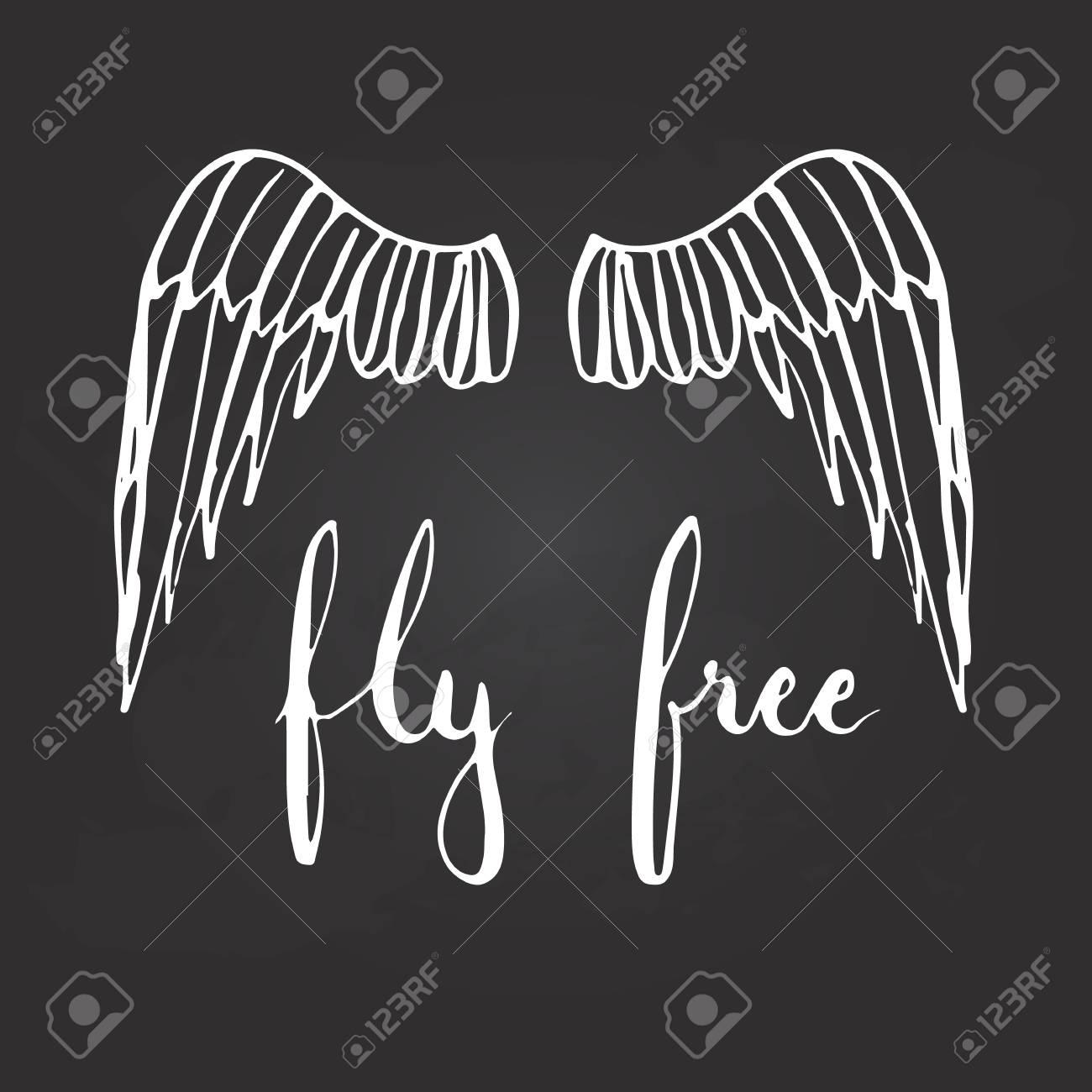 Dibujado A Mano Tipografía Letras Frase Volar Gratis Con Alas De Pájaros En El Fondo Negro Caligrafía Motivacional Moderna Para El Cartel De La