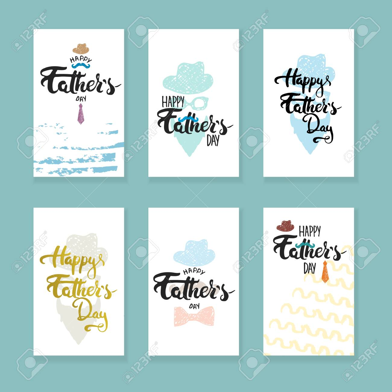 Happy fathers day lettering calligraphy greeting cards set with happy fathers day lettering calligraphy greeting cards set with hat mustache bow tie m4hsunfo