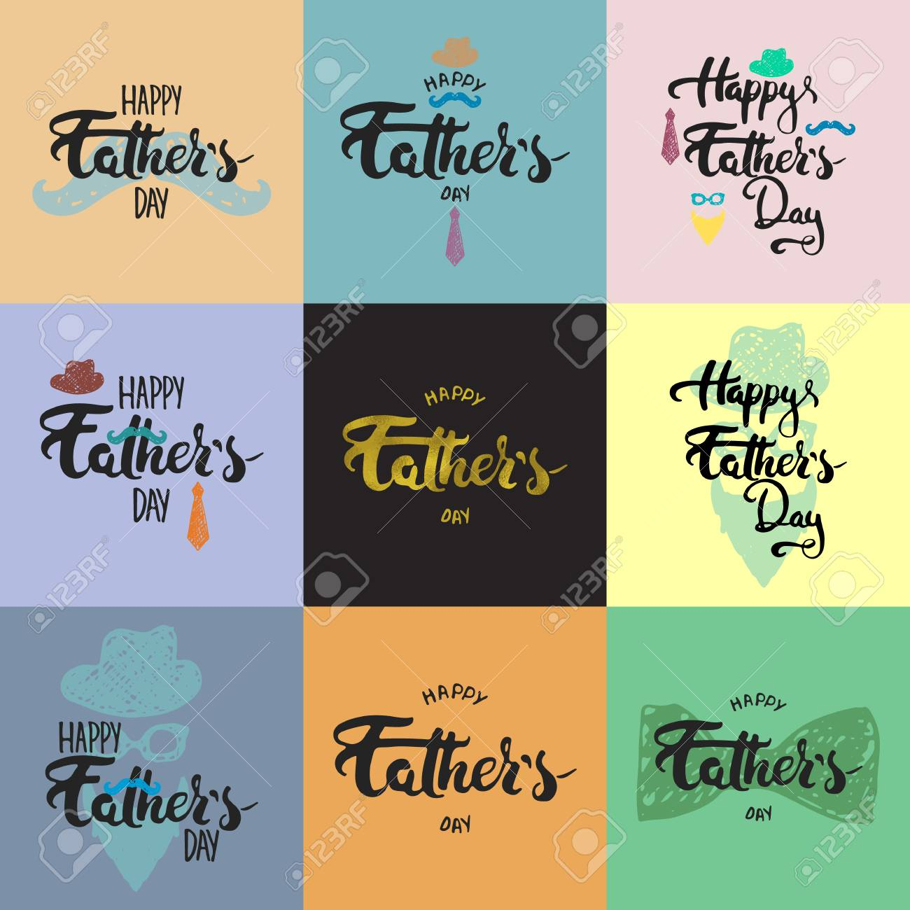 Happy Fathers Day Lettering Calligraphy Greeting Cards Set With