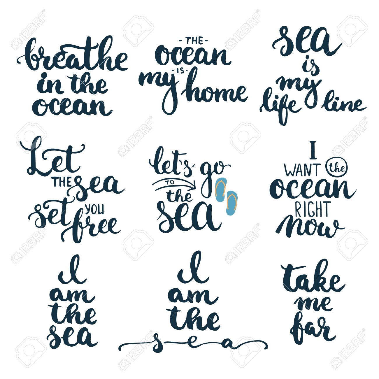 Typography Lettering Phrases Set About Sea Ocean And Summer Time Modern Calligraphy For