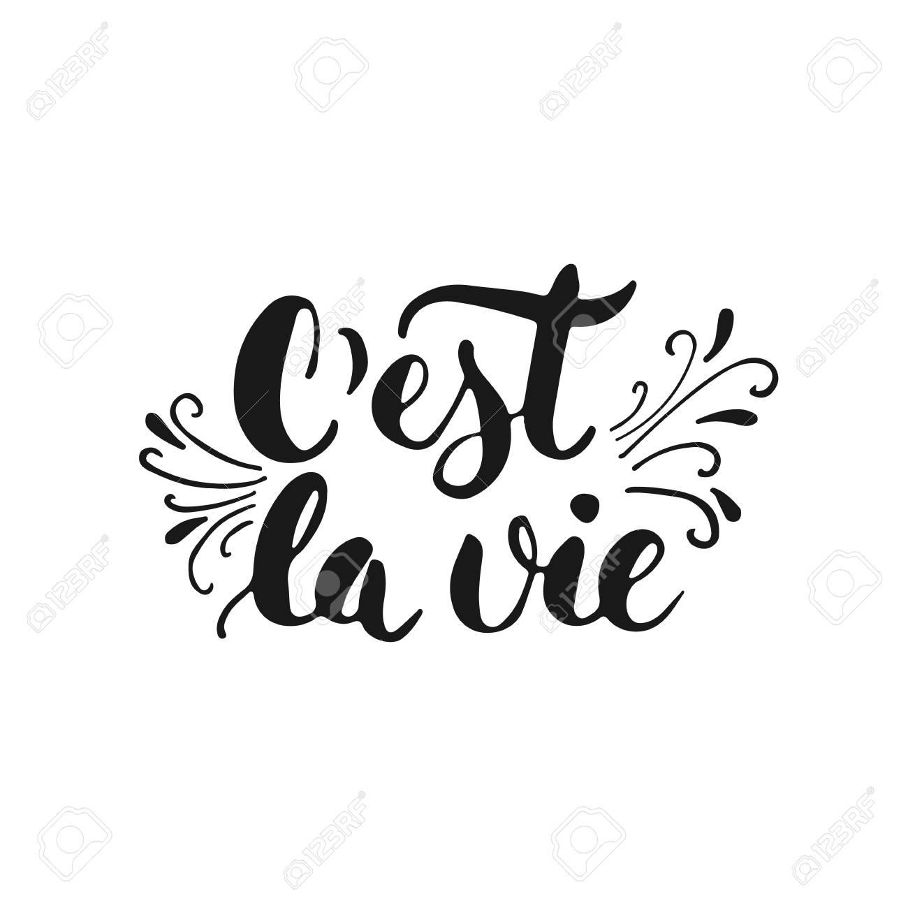 Cest La Vie Dibujado A Mano Las Letras De Una Frase Así Es La Vida En Francés Aislado En El Fondo Blanco Inscripción De Tinta Cepillo De