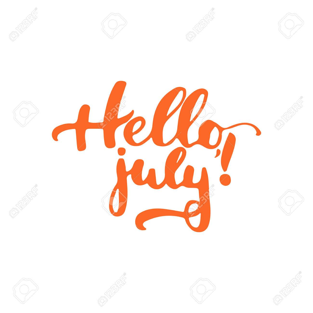 Hand Drawn Orange Typography Lettering Phrase Hello, July Isolated On The  White Background. Fun