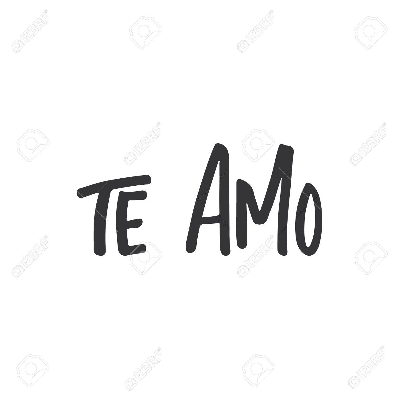 te amo i love you lettering calligraphy phrase in spanish