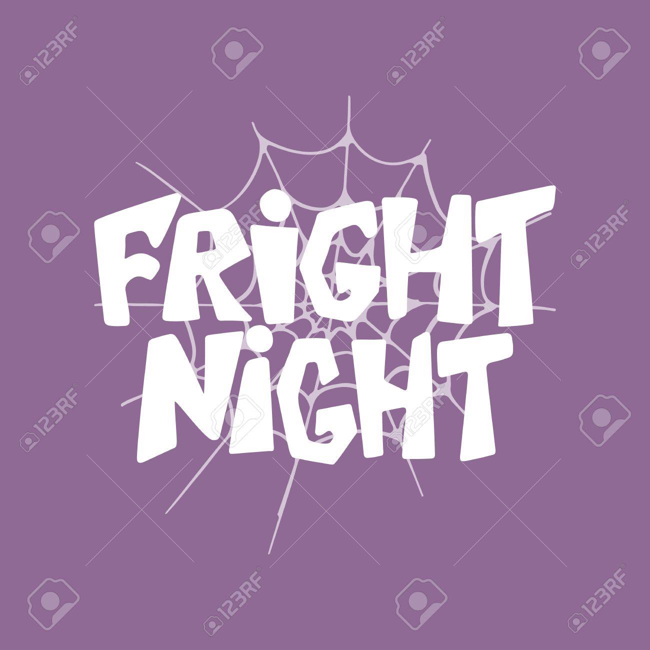 Noche Del Susto Halloween Letras Dibujado A Mano La Tarjeta Frase Partido Tarjeta De Felicitación De La Tipografía De La Diversión De Tinta