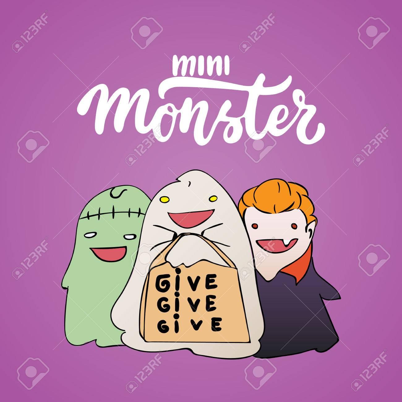 Mini Monstruo - Letras Dibujado A Mano Fiesta De Halloween Y Tarjeta De  Dibujo Con Niños Vestidos Con Un Traje De Vampiro fc3580fc60eba